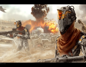 android_red_sun_military_robot_travis_lacey_ravenseyestudios