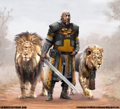 black_african_warrior_fantasy_concept_art_lion