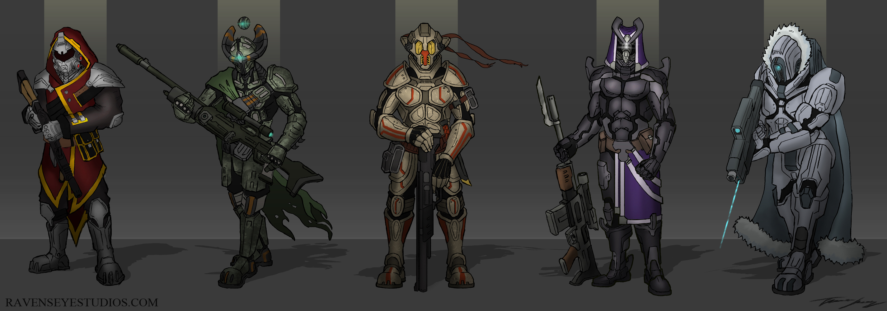 Sci-fi-soldiers-concept-bounty-hunters-art-concept-art-design-roughs