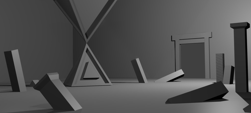 triangle temple pillars 3d